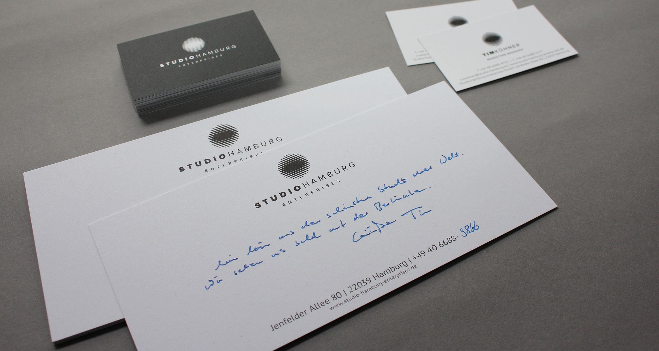Geschäftsausstattung Studio Hamburg Enterprises: Visitenkarten und Grußkarte