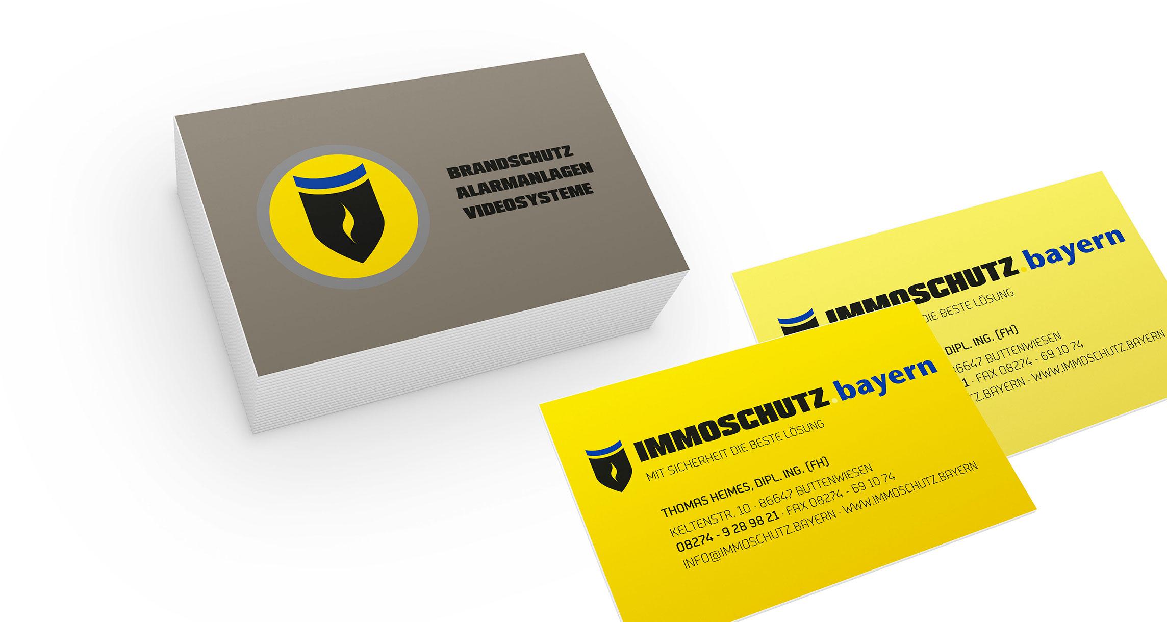 Geschäftsausstattung Immoschutz.Bayern: Visitenkarten